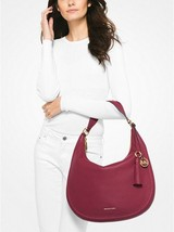 Michael Kors Lydia Large Leather Hobo Bag in Mulberry - $168.29