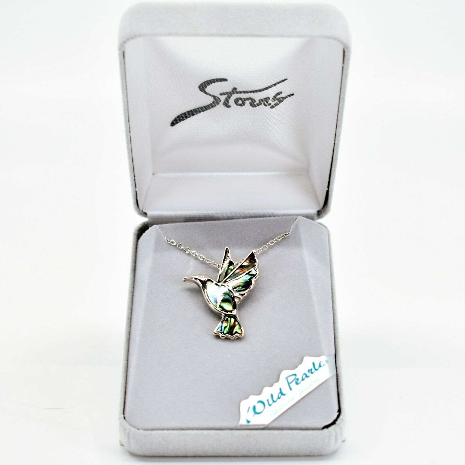A.T. Storrs Wild Pearle Abalone Shell Hummingbird Pendant & Silver Tone Necklace