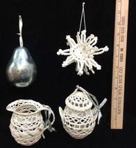 Ornaments Snowflake Pitcher Lidded Pot Stiff Crotchet Foil Pear Blue Gray Lot 4 - $9.89