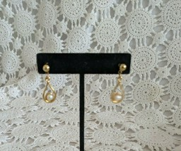 Ladies Gold Tone Pierced Bead Dangle Drop Earrings  - $2.90