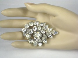 Brooch Rhinestones Unsigned Pin Clear Spiral Vintage 1950 to 1960 Prong Set - $69.29