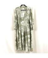 Desmond & Dempsey H&M Dress Midi A Line Pleated Palm Print Long Sleeve G... - $62.88