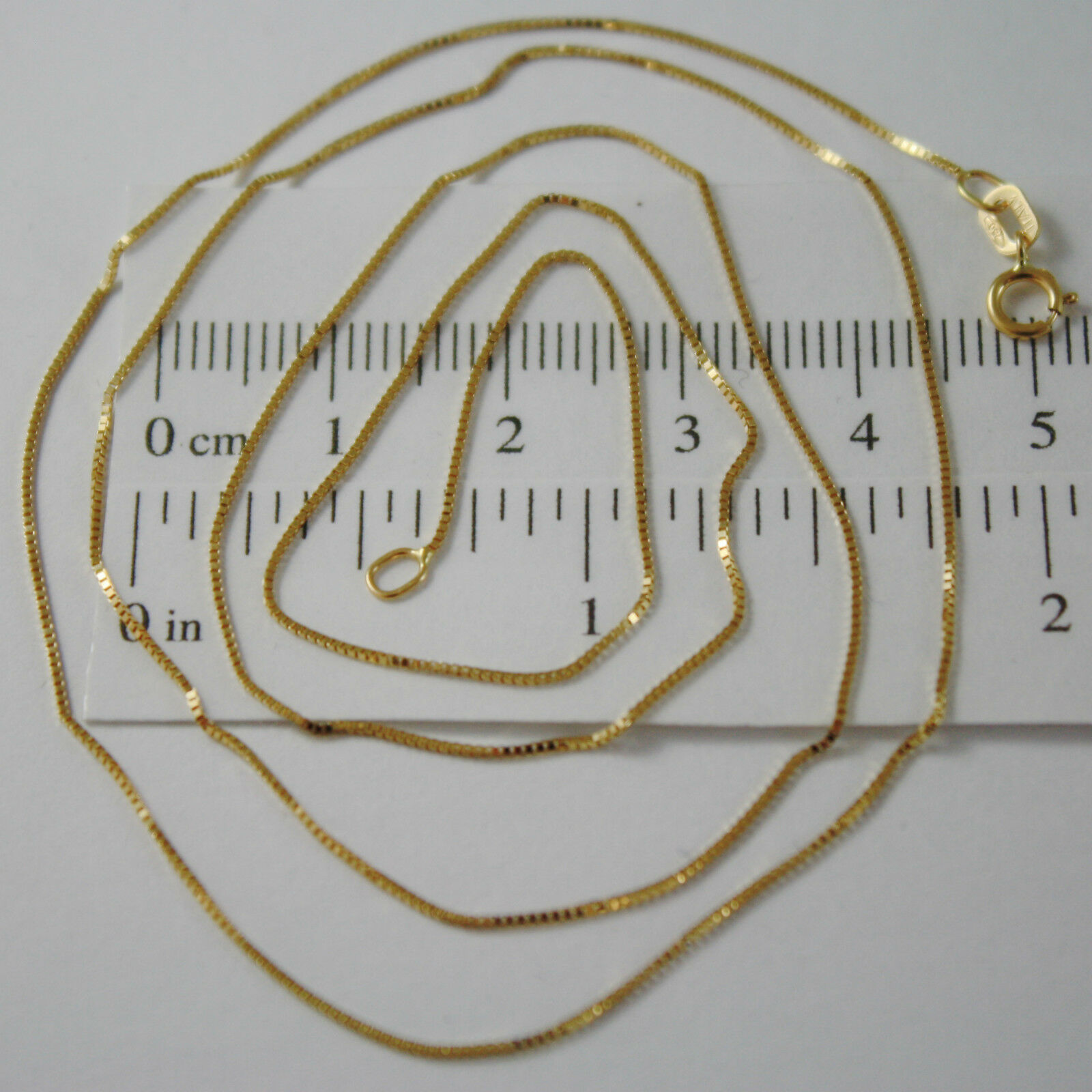 18K YELLOW GOLD CHAIN NECKLACE 0.5 mm MINI VENETIAN MESH 18 INCH. MADE IN ITALY