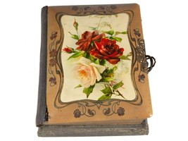 FREE SHIP: Antique Vintage Victorian Photo Album with Working Music Box - $126.23
