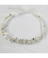 Freshwater Pearl Swarovski Crystal Bead Ivory Sheer Ribbon Flower Headband - €88,50 EUR