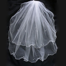 New 2 Tier Pearl Bridal Wedding Waist Length Veil in White, Ivory - $12.63