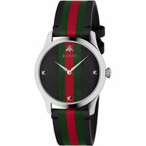 Gucci G-TIMELESS 126MD YA1264079 38 mm black LEATHER STRIPES green watch - $989.01
