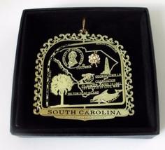 South Carolina State Landmarks Brass Ornament Black Leatherette Box - $13.95