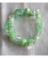 Judy Strobel Elegant Mint Green Vintage Art Glass & Cut Glass Bracelet - $19.95