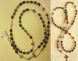 FIRST COMMUNION CATHOLIC ROSARY ROSENKRANZ BLOODSTONE AND STERLING SILVER - $94.05