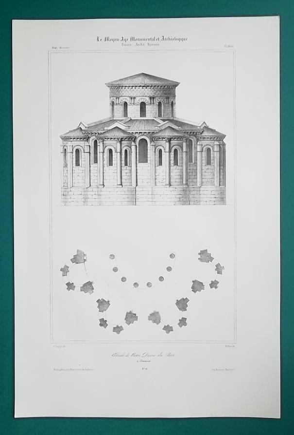 FRANCE Clermont-Ferrand Basilica Apse  - SUPERB 1843 Lithograph Print