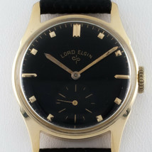 Lord Elgin Vintage 14k Yellow Gold Hand-Winding Watch Black Dial 1953 Mov #556 - $1,039.24