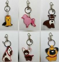 Genuine Leather Dog Keychain Yorkie, Pug, Chihuahua, Poodle, Bulldog, Sc... - $9.99