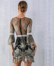 Women's Brand Fashion Lace Sequin  Black Half Sleeve Party Dress image 4