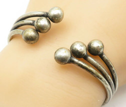 925 Sterling Silver - Vintage Split Band Ball Bead Detail Cuff Bracelet ... - $104.02