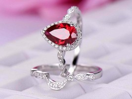 2.50Ct Pear Cut Red Ruby Bridal Halo Engagement Ring 18K White Gold Finish - $87.74