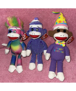 2013 Ty SOCK MONKEY Beanie Baby Lot 3 Rainbow Socks Happy Birthday MWMTs... - $29.99