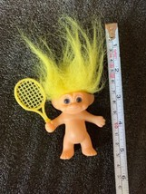 "Russ 3.5"" Tennis Player Troll Bright Yellow Hair Nice Vintage Figurine - $14.95"