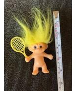 "Russ 3.5"" Tennis Player Troll Bright Yellow Hair Nice Vintage Figurine - $14.95"