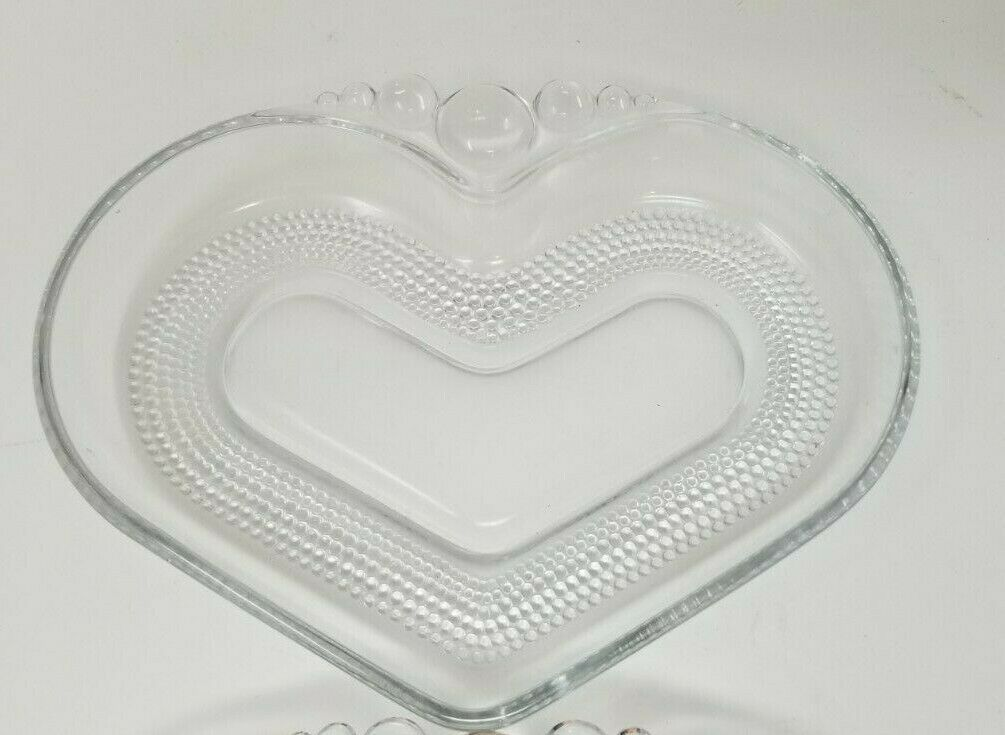 "Set of 2 Vintage Candlewick Condiment Dishes Heart Shaped Beaded 7.75"" x 6"""