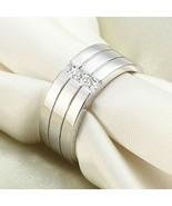 Sterling Silver 3 Row Princess Diamonds Ring Men's Wedding Band 14k Gold... - $70.56