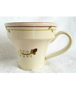 Vietri Fiori di Bosco Coffee Mug Tea Cup Ivory Yellow Single Flower Bud ... - $9.99
