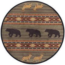 "5' Round (5'3"") Lodge Cabin Deer Buck Bear Wilderness Green Area Rug - €91,46 EUR"