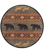 "5' Round (5'3"") Lodge Cabin Deer Buck Bear Wilderness Green Area Rug - €91,03 EUR"