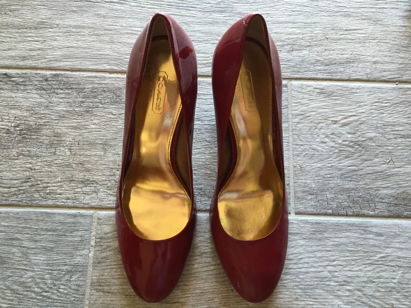 76cad5b9b9 NWOB COACH Maxey Model #A0258 Burgundy Patent Leather Heels - Women's Size  8.5-M