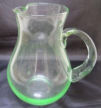 """HAND BLOWN CLEAR LITTLE GREEN GLASS PITCHER HUGE 9"""" - $35.00"""