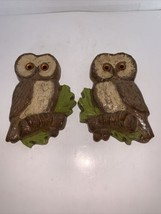 "Vintage Pair Of Homco Wall Hanging Owls #4570 R & L 1979 8 1/4"" - $25.00"