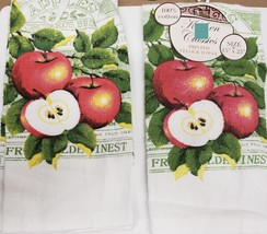 """2 SAME PRINTED VELOUR KITCHEN TOWELS 15"""" x 25"""", 2 & HALF APPLES by BH - $9.89"""