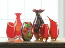 Red Art Glass Bottleneck Vase - $62.02