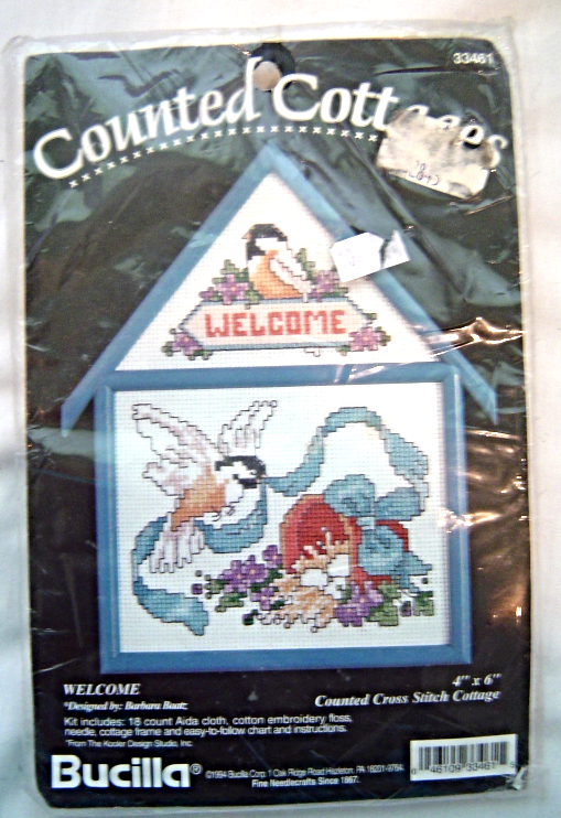 "Bucilla Counted Cottages - Birds ""Welcome"" Cross Stitch Kit 33461 NIP Sealed"