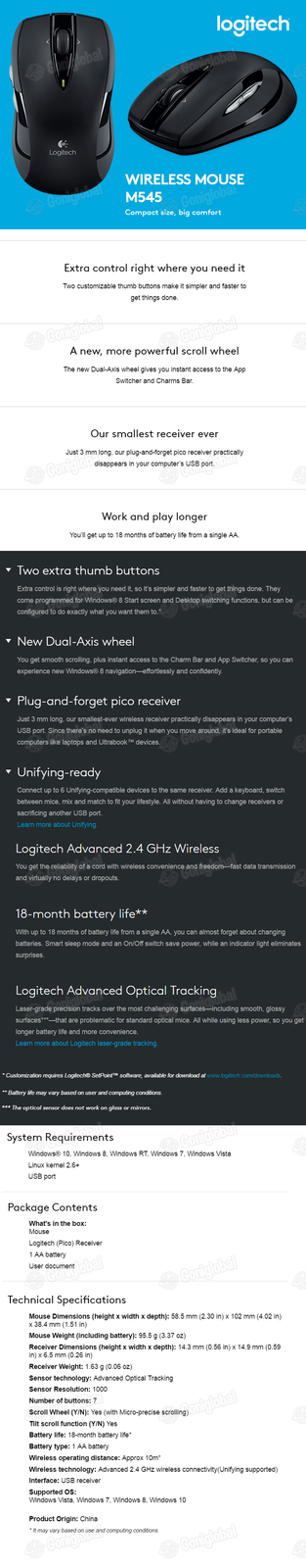 Logitech Logitech Wireless Mouse M545 BLACK / 5 Buttons Mouse / USB Type Mouse /