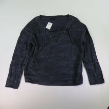 Small Sanctuary Navy Camo Lace Up Front Shirt With Unfinished Cuff XT228... - €31,16 EUR