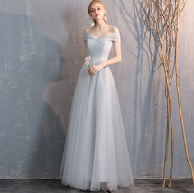 Floor Length Maxi Bridesmaid Dresses Tulle Wedding Dress Light Gray Off Shoulder image 7