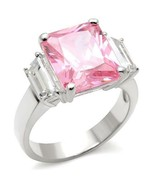 Square Cut Pink CZ October Birthstone Ring .925 Sterling Silver - $28.00