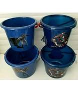 "4 Blue 7"" Plastic Pail Toy Bucket Batman V Superman & Captain America Ci... - $16.78"