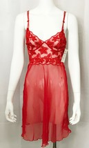 Millesia France Nightgown Red Embroidered Sheer Nightie size XS  - $34.62
