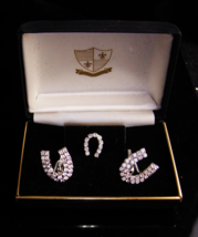 Vintage Good Luck Cufflinks - rhinestone horseshoes - silver tie tack - ... - $165.00