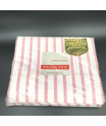 Vintage Pequot Flat Sheet 81x108 Pink and White Peppermint Striped Musli... - $29.95