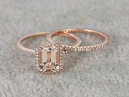 2 Ct Emerald Cut Peach Morganite Bridal Engagement Ring Set 14k Rose Gol... - $73.37