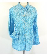 AVENUE Size 18W 20W Turquoise Lightweight Cotton Button Down Shirt - $9.99