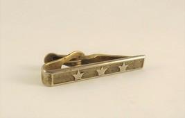 Vintage Swank Triple Crown Necktie Clip Gold Textured Horse Race Tie Clasp Bar - $15.84