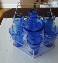 Complete Hazel Atlas Ritz Blue Windmill Cocktail Set - $84.15