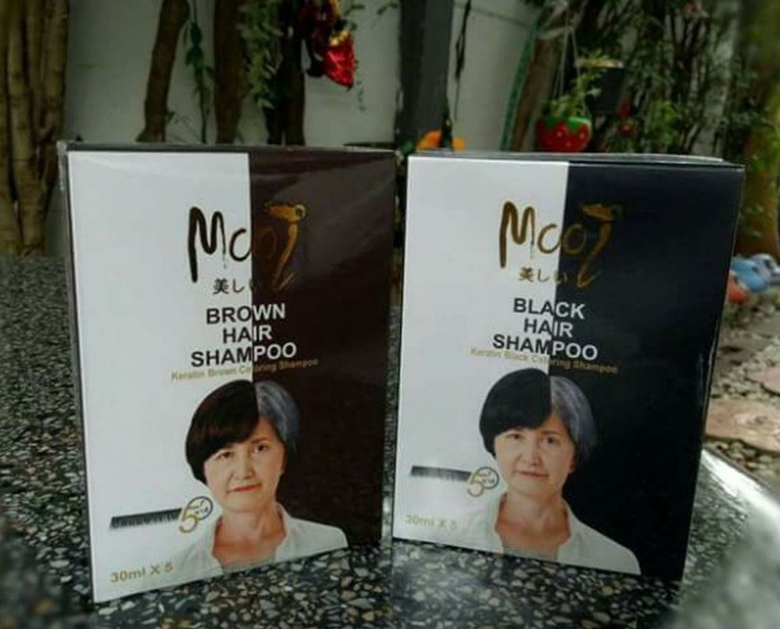 Mooi Keratin Black Coloring Shampoo Change Hair Color Black 30 ml. New