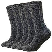 Wool Socks For Women Men 5 Pack-Winter Soft Thick Knit Warm Hiker Cozy Boot Crew image 3