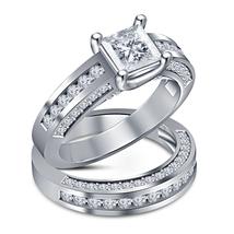 Princess Diamond Women's Engagement Bridal Ring Set White Gold Plated 925 Silver - $89.99