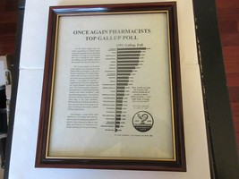 "Once Again PHarmacists Top Gallup Pole , Plaque , 9"" x 11"" , Rx , Pharmacy ,1992 image 2"